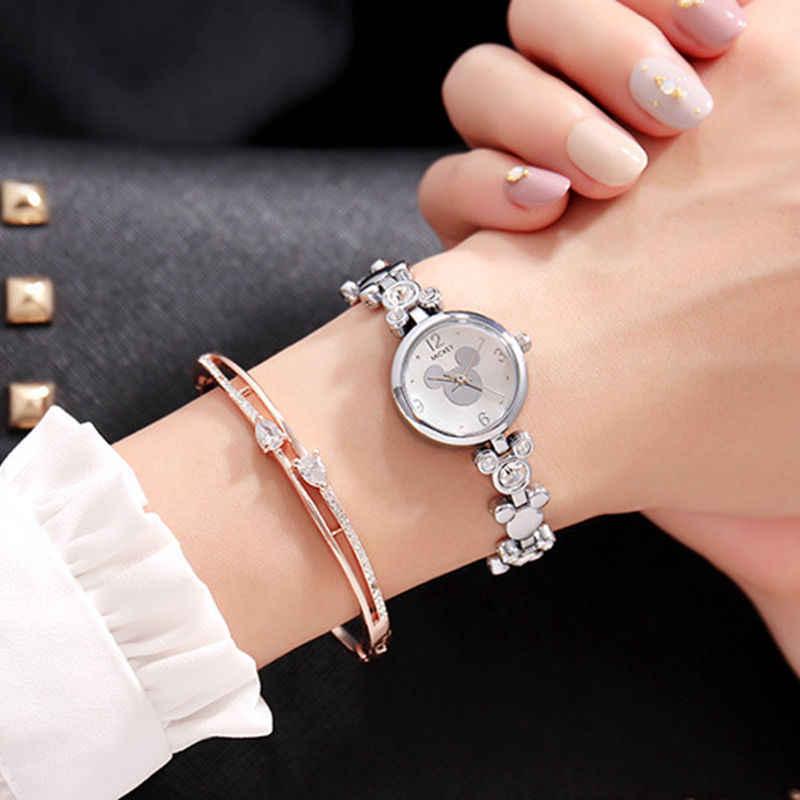 אמיתי דיסני גבירותיי נשים שעונים מיקי דמות בצורת שרשרת שעון יהלומי שעון תלמיד ילדה שעון יד עם תיבה