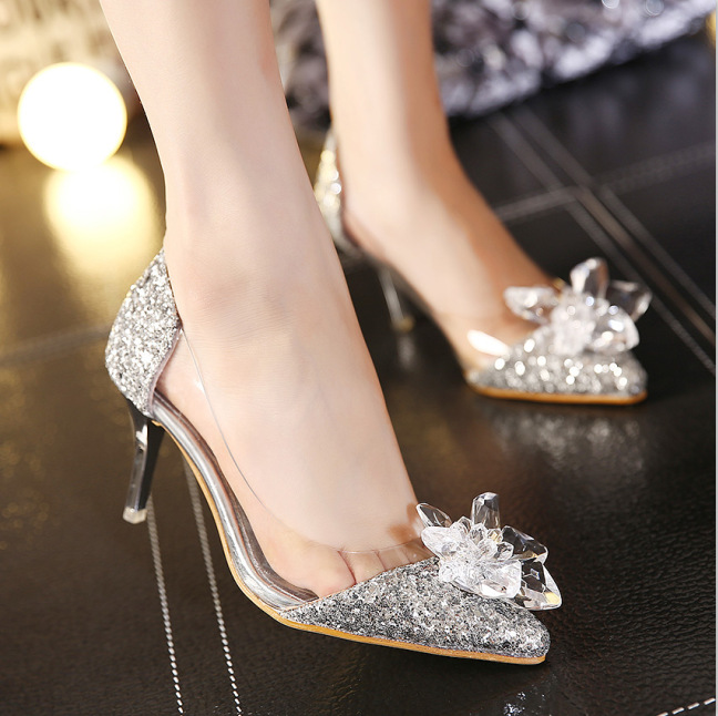 F.N.JACK 2018 New Rhinestone High Heels Cinderella Shoes Women Pumps Pointed toe Woman Crystal Wedding Shoes