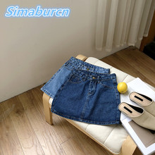 Summer 2018 Casual A-Line Korean Women Mini Jeans Skirts Button Slim High Waist Ladies Denim Skirts Sexy Femme Pencil Skirt Male fashion cute infant baby girl button a line mini skirts button party slim princess pageant skirt