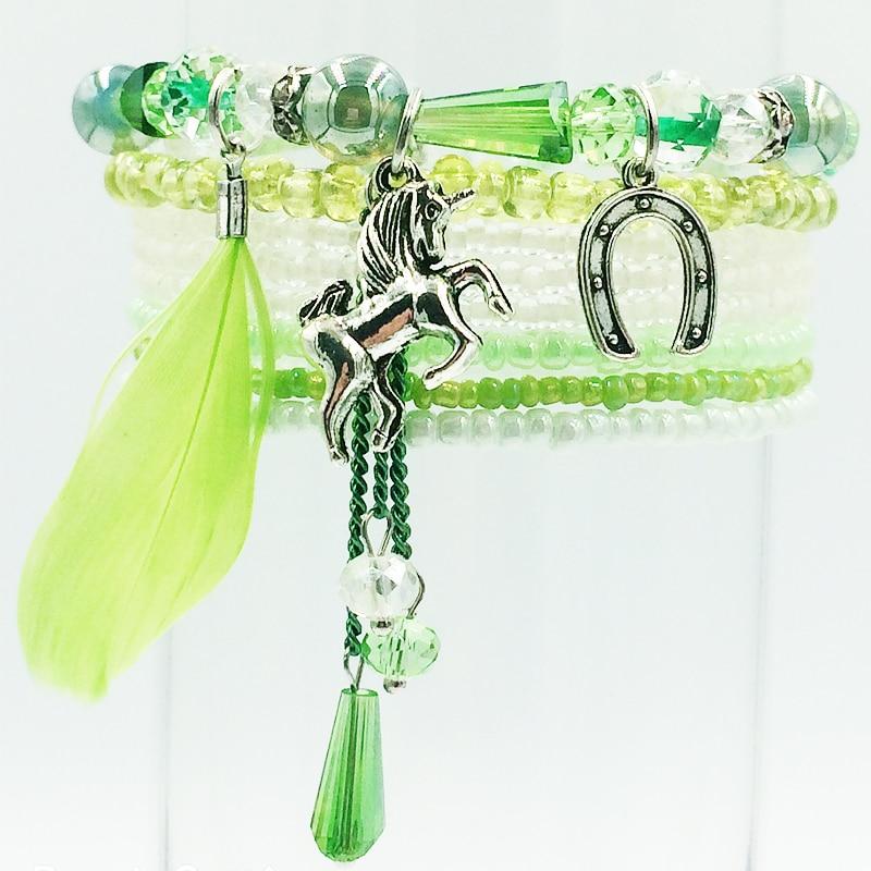 hangjing 8pcs set new bohemian elastic friendship horse charm femme couple crystal glass bead bracelets for women 2019 jewelry in Charm Bracelets from Jewelry Accessories