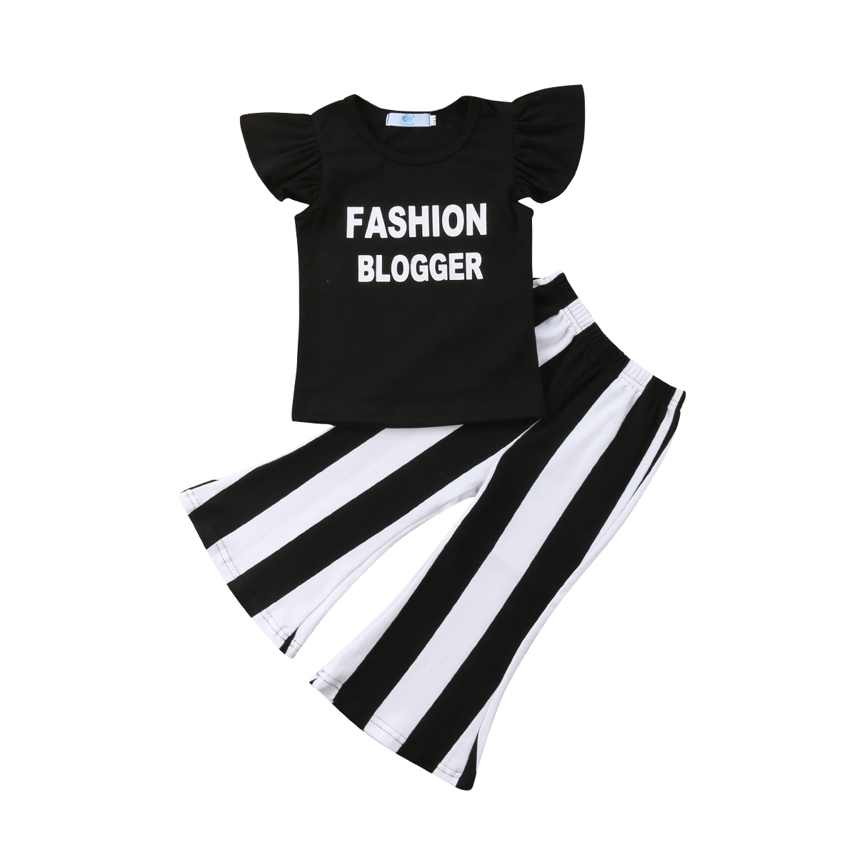 US Kids Baby Girls Ruffle Tops T shirt Dress Striped Pants Outfits Set Clothes