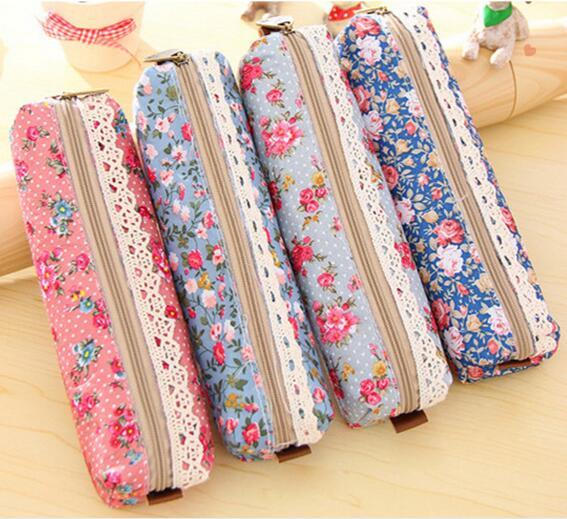 1pcs/lot Fashion Mini Retro Flower Floral Lace Pencil case pen bag Multi-Function Zipper Pencil Holder Bag Gift Stationery