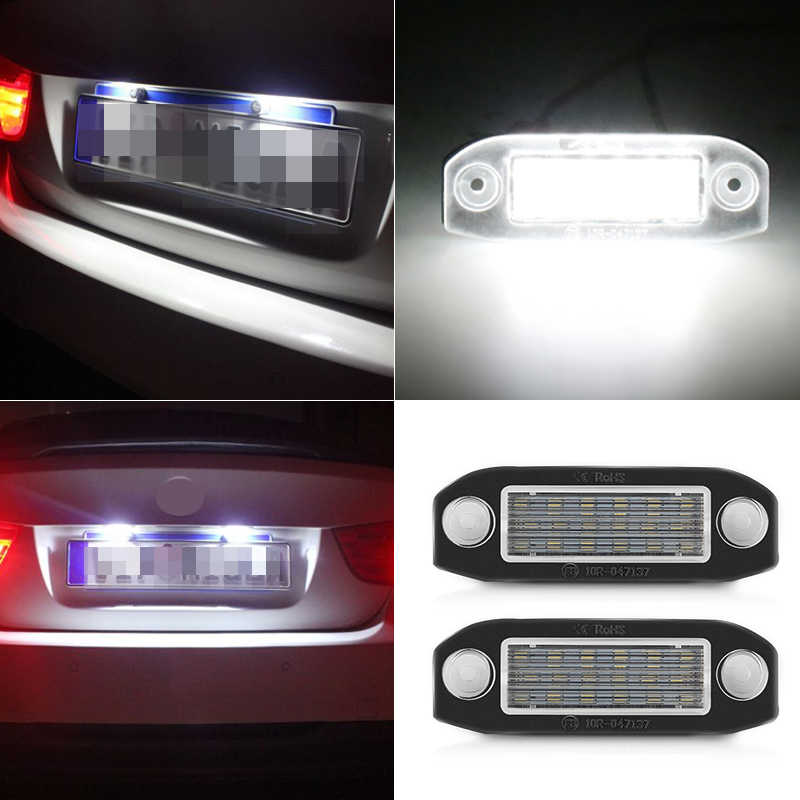 2 pièces Canbus 12 V LED plaque d'immatriculation ampoule blanche sans erreur plaque d'immatriculation lumières pour VOLVO C30 C70 S80 V70 XC70 S40 V50