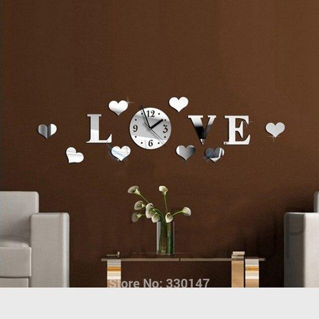 Specchio Orologio Da Parete Amore Acrilico Sticker Design Moderno