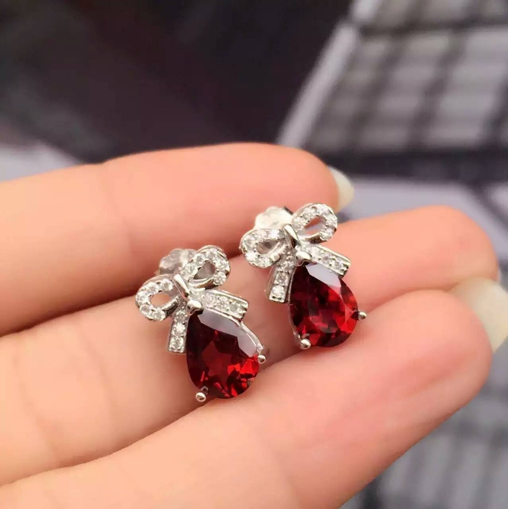 natural red garnet stone earrings 925 silver Natural gemstone earring women  water drop personality fashion party fine Earringsnatural red garnet stone earrings 925 silver Natural gemstone earring women  water drop personality fashion party fine Earrings