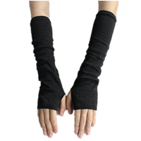 CUHAKCI Knitted Protection Fingerless Long Gloves Women Arm Warmers Solid Warm Mittens Half Finger Sleeves Black 1