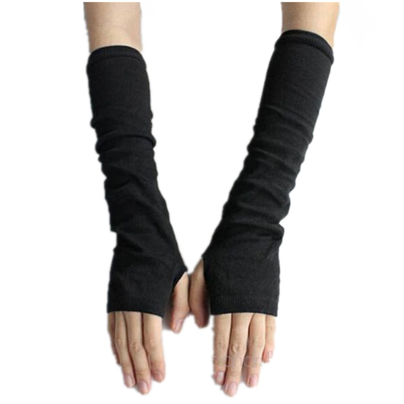CUHAKCI Women Arm Warmers Fingerless Long Gloves Solid Warm Mittens Knitted Protection Arm Warmer Half Finger Sleeves Black Grey