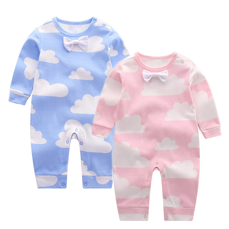 Long Sleeve Baby Romper Cotton Bow Clouds Newborn Baby Clothes Spring Autumn Infant Girls Costume Toddler Boys Rompers cotton cute red lips print newborn infant baby boys clothing spring long sleeve romper jumpsuit baby rompers clothes outfits set