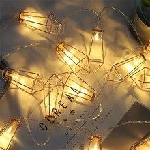 4M 20LED String Lights Iron Rustic Cage Lantern Metal Diamond Shape Garden Light Christmas Holiday AC220V