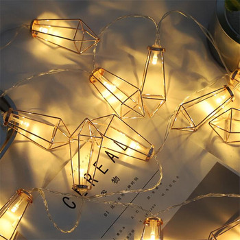 4M 20LED String Lights Iron Rustic Cage Lantern Metal Diamond Shape Garden Light Christmas Holiday AC220V