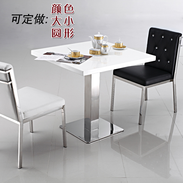 Small Dining Tables Sets: Simple Negotiation Table Front Desk Stainless White Marble