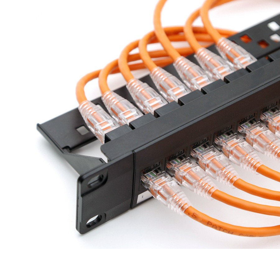 19inch 1u cabinet rack pass through 24 port cat6 patch panel rj45 network cable adapter [ 900 x 900 Pixel ]