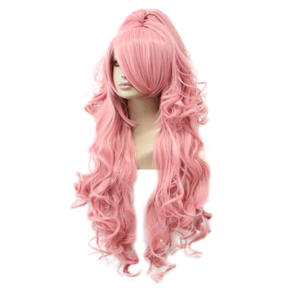 HAIRJOY Synthetic Hair Vocaloid Luka  Cosplay Wig Pink Red Curly Wigs with Ponytail  Free Shipping 2