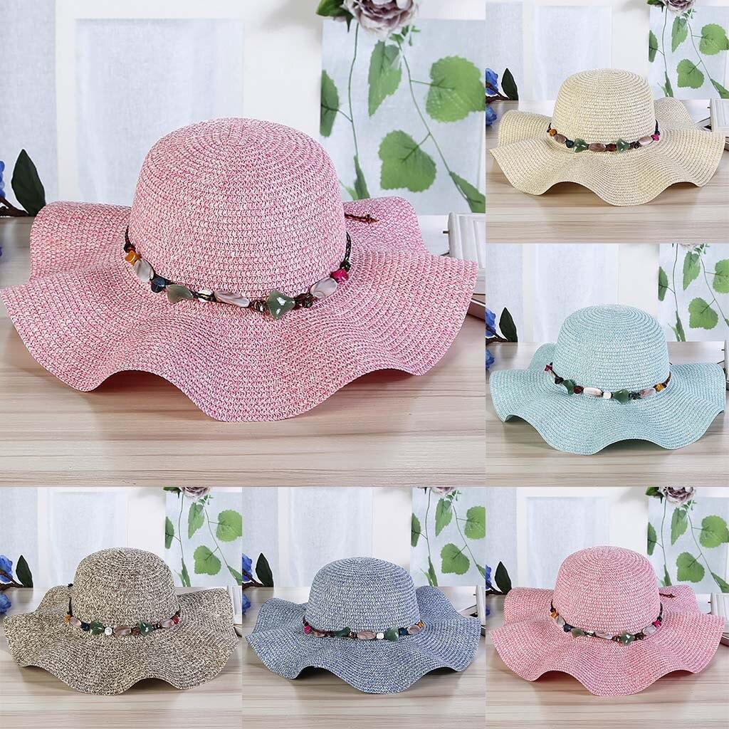 Women Big Wide Brim Straw Hat Colorful Stone Design Beach Sun Foldable Cap summer Lady Girls chapeu feminino #201