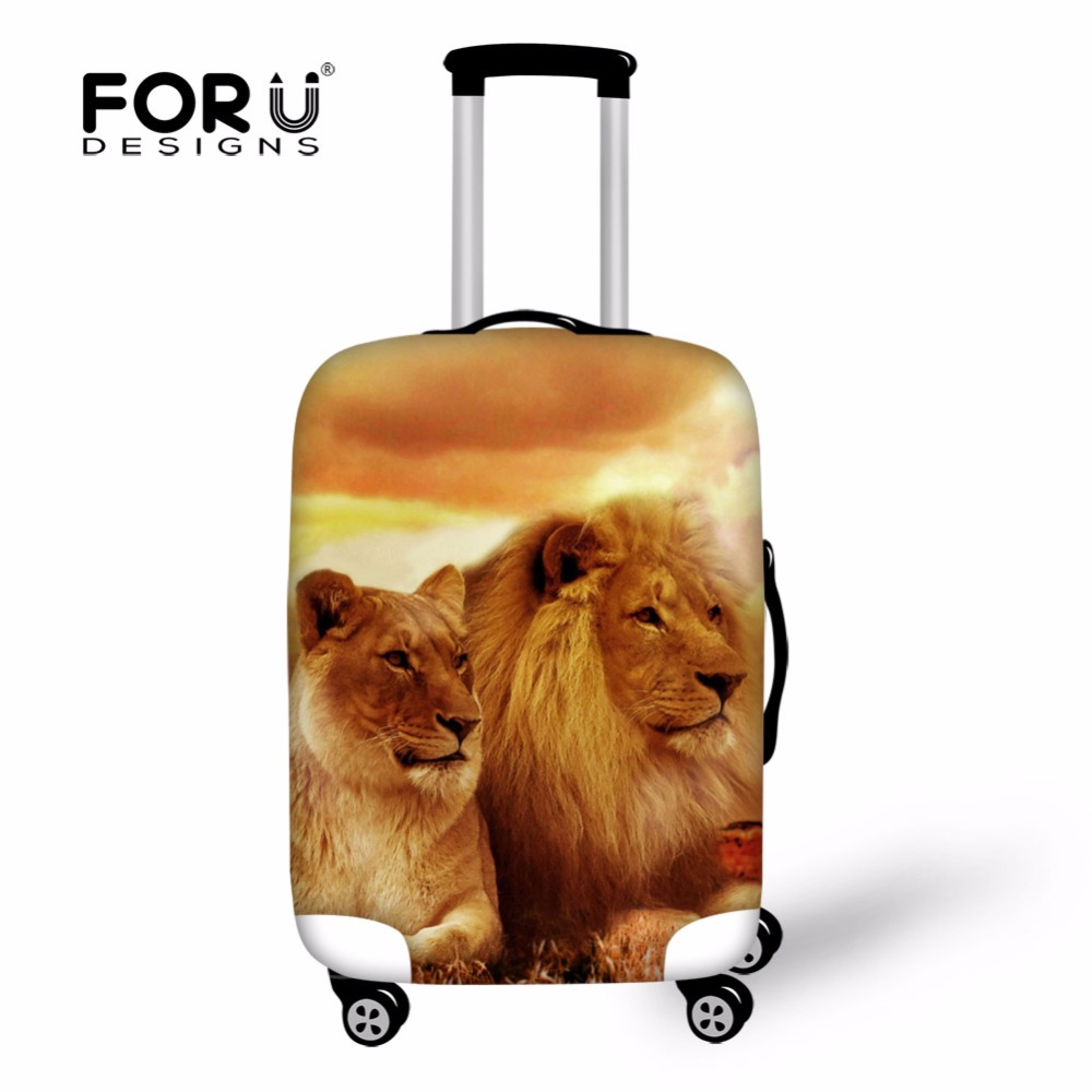 FORUDESIGNS Travel Accessories Cool Animal Lion Tiger Printed Men Luggage Protective Cover for 18/20/22/24/26/28/30inch Suitcase ...