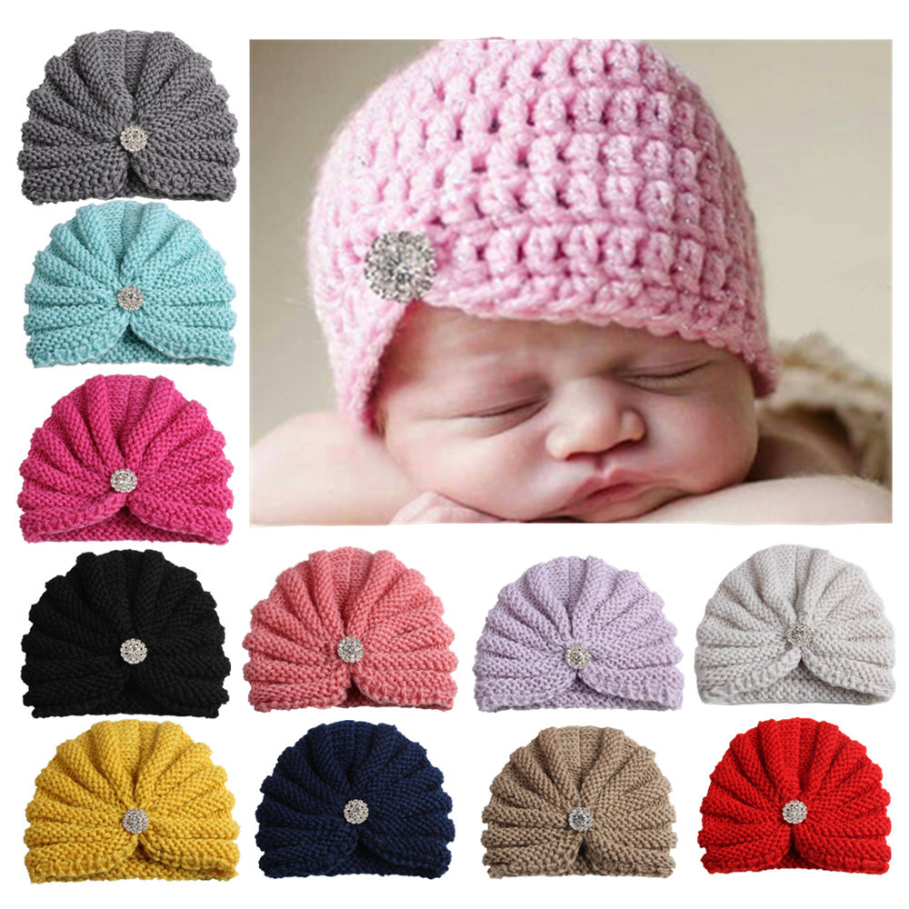 DreamShining Spring Autumn Baby Hat Crochet Beanies Diamond Kids Cap Knitted Toddler Newborn Photography Props Accessories