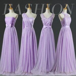Image 1 - ספינה מהירה במלאי ורוד סגול שושבינה שמלות כלה אורח הלטר זול מסיבת חתונת שמלה
