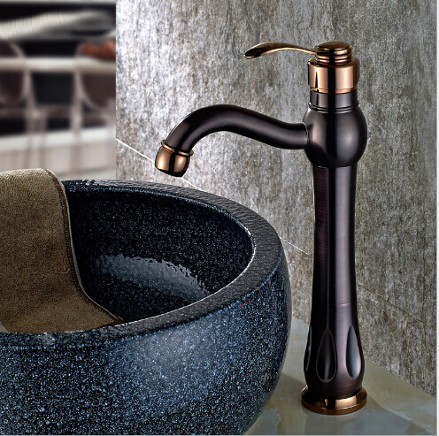 Free Shipping Black Antique Brass Basin Faucet Hot And Cold Basin Mixer Oil Rubbed Finish Bathroom Sink Faucet Water Mixer Tap rotary encoder ose104 second hand looks like new tested working