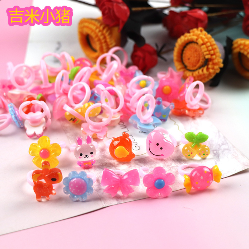 25pcs Multi-color Adjustable Cartoon Rings For Girls Gifts Dress Up Accessories Kids DIY Crafts Toy Wholesale