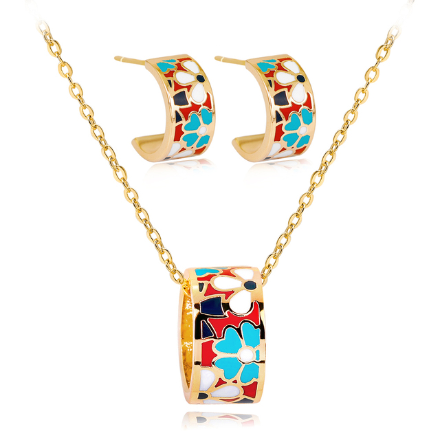 Us 6 04 20 Off Fashion Enamel Flower Indian Bridal Jewelry Sets Necklace Earrings Costume For Women Gold Color Jewellery In