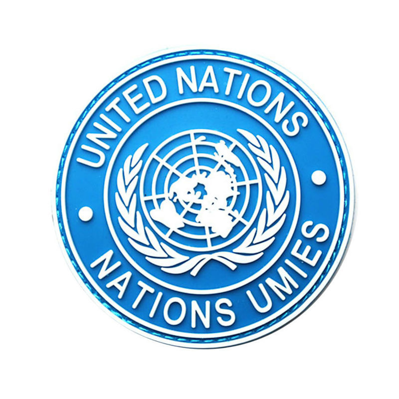 "Genial internacional de las Naciones Unidas hombro placa uniformes prendas de vestir o chaqueta de lana de manga 3,15 ""x 3,15"" Azul"""
