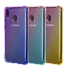 Rainbow Gradient Airbag Case for Samsung Galaxy M10 Cover Four Corners Schockproof M20 M30 Soft TPU Phone