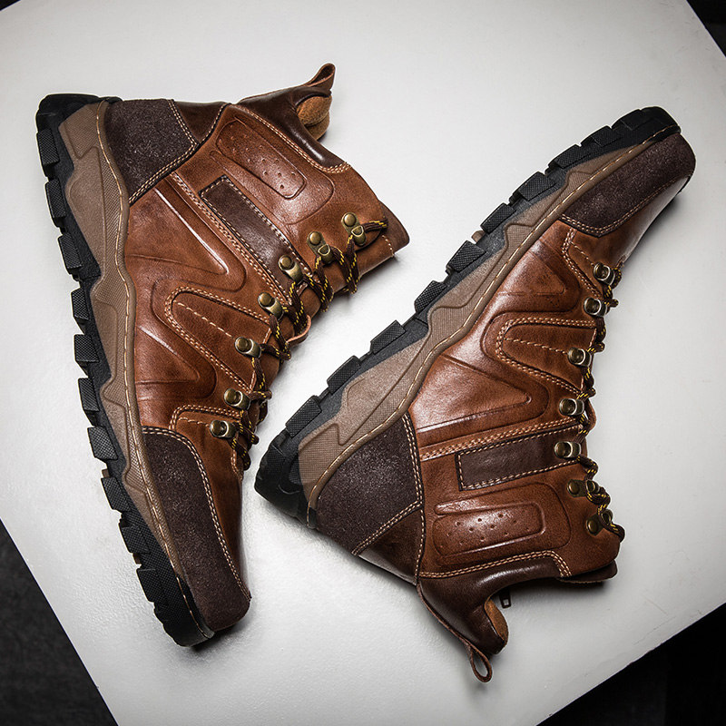 Hot Sale!! Stylish Man Trendy Ankle Boots Genuine Leather Round Toe Lace Up Riding Motorcycle Boots Fashion Mens Shoes