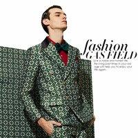 High Grade Men S Suit Spring And Autumn Big Gold Clover G Jacquard Fabrics Europe And