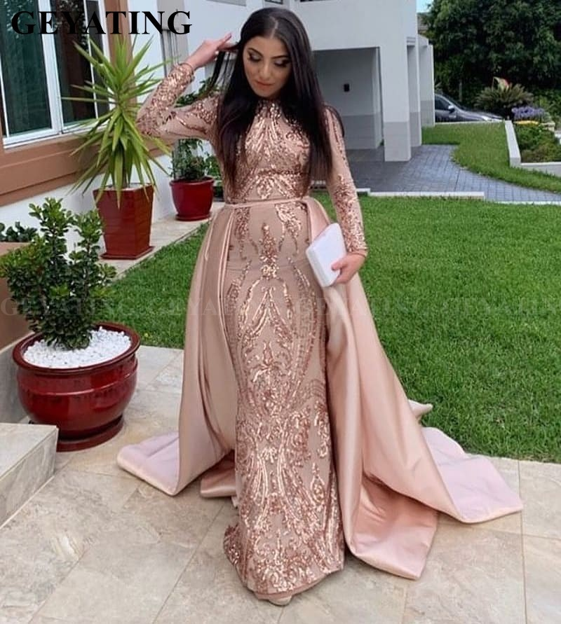 Saudi Arabia Long Sleeves Mermaid Muslim   Evening     Dress   with Detachable Train Rose Gold Sequin Kaftan Dubai Prom Formal   Dresses