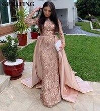 Suudi Arabistan Uzun Kollu Mermaid Müslüman Akşam Elbise Ayrılabilir Tren ile Gül Altın Pullu Kaftan Dubai Balo Resmi Elbiseler