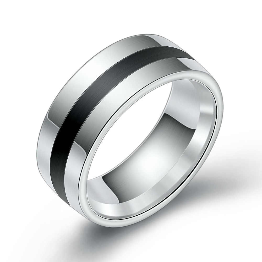 8 มม.7 #8 #9 #10 #11 #12 # เคลือบสีดำแหวนสแตนเลสผู้ชายแฟชั่นชายแหวนแฟชั่น Dropshipping Hiphop แหวน