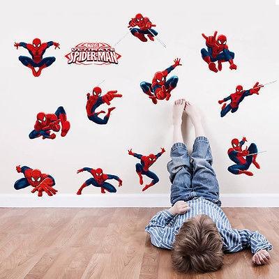 Large Kids Spider Man Wall Stickers Mural Baby Boy Cartoon Spiderman