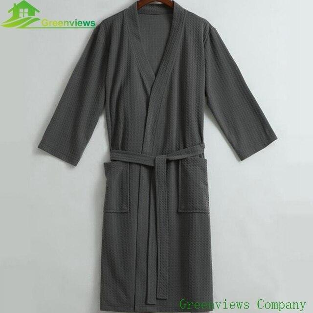 1PCS/Lot) Waffle bathrobe Unisex Women\'s bathrobe 100%cotton ...