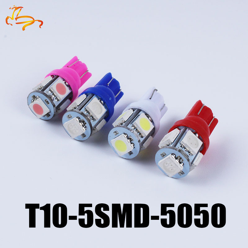 50pcs x  24V LED T10 194 168 W5W 5 SMD 5050 5SMD LED Wedge Light Bulb Lamp White Green Blue Red Yellow 24V DC t10 5smd 5050 5led 10x t10 5smd dc 12v 1w 5050 5 smd 192 168 194 w5w white blue red green yellow pink xenon led side light wedge bulb lamp for car
