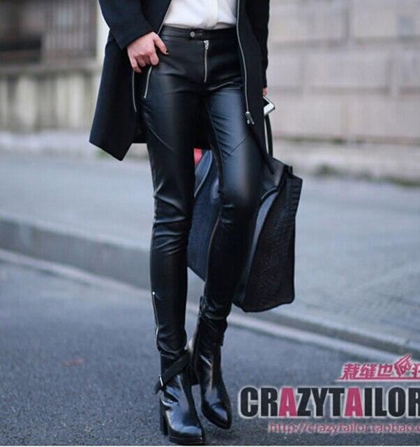 Marque de femmes mode slim décontracté en cuir pantalon zipper nouveau européen Simulation stovepipe pantalon crayon pantalon en cuir