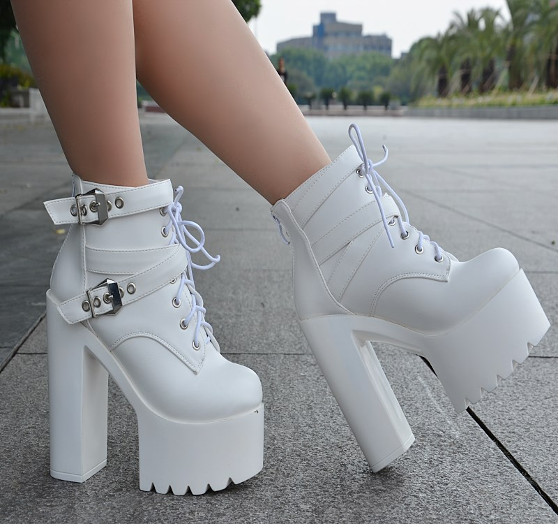 European and American style fashion ankle <font><b>boots</b></font> 2019 spring new Korean thick with short <font><b>boots</b></font> <font><b>14</b></font> <font><b>cm</b></font> super high <font><b>heel</b></font> womens <font><b>boots</b></font> image