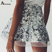 2019 Summer New Sexy Casual Bodycon For Women Mesh Sequin Skirts A-line Skirt Club Party Fashion High Waist Patchwork Mini Skirt цена и фото