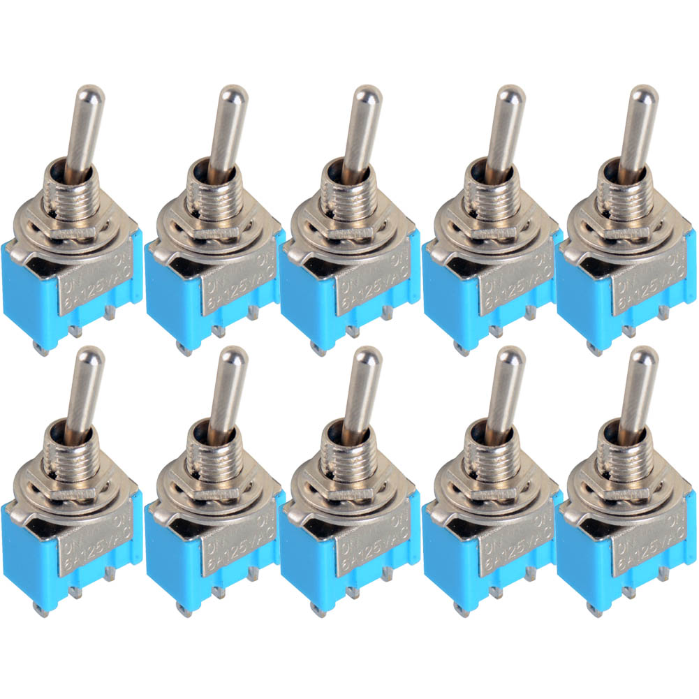 10pc LOT Blue Mini MTS 102 3 Pin SPDT ON ON 6A 125VAC Miniature Toggle Switches VE067 P in Switches from Lights Lighting