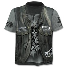 skull 3d Short Sleeve Tee Tops Anime T-Shirt SF