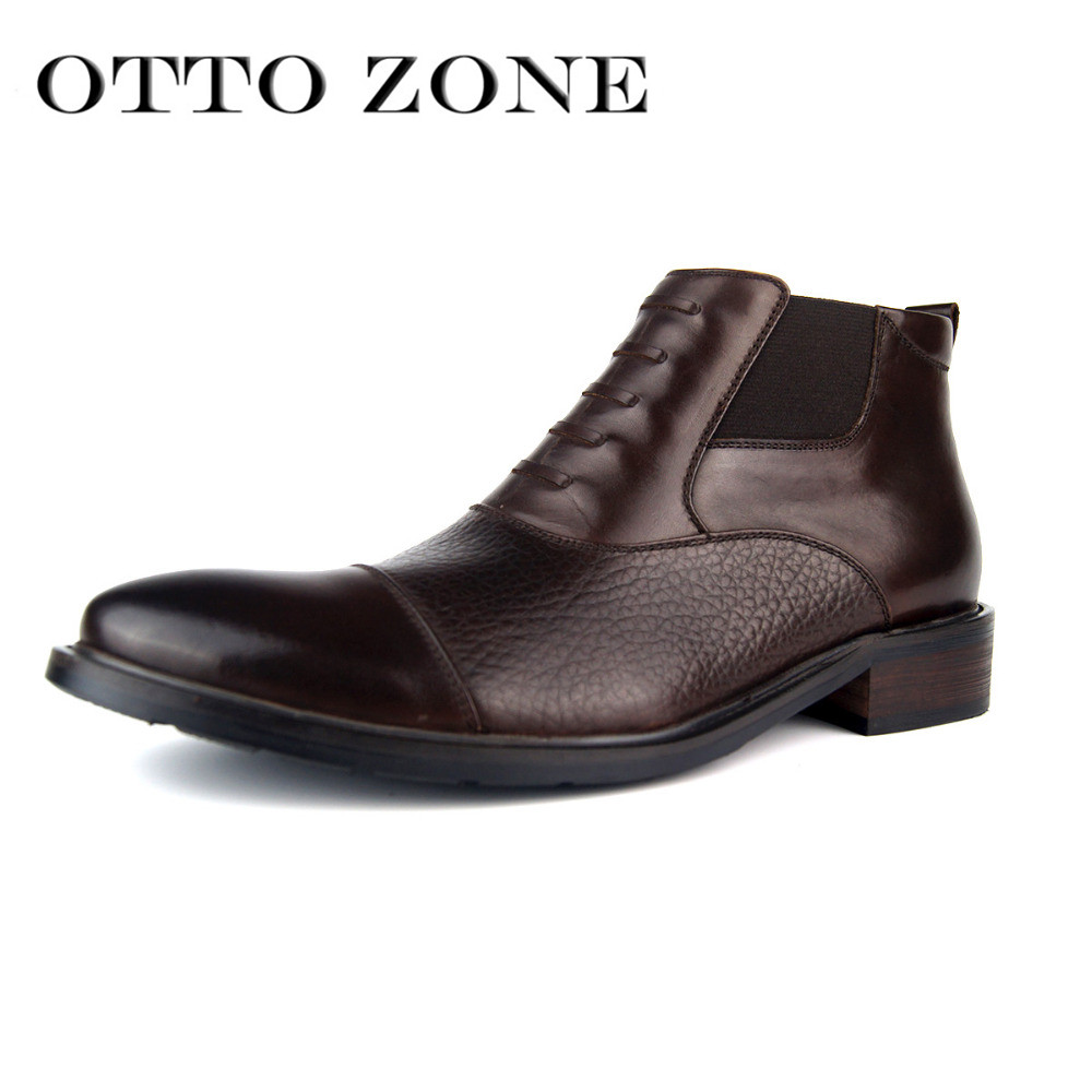 OTTO ZONE Mens Chelsea Martin Boots Handmade Genuine Leather Ankle Boots Oxford Casual Shoes Vintage Designer Fur Boots