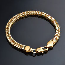 Classic Shiny 18k Gold Snake Chain Bracelet Male Female Jewelry For Daily Party Travel Best popular Free Shipping(China)