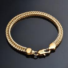 9a8ac34b9f09 Jemmin clásico brillante de serpiente de oro de 18 k pulsera de cadena de  hombre de joyería femenina diario parte de mejor popul.