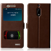 Cover Case For Nokia 6 Top Quality Natural Genuine Leather Magnetic Flip Stand Mobile Phone Bag