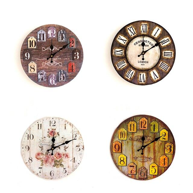 70defd89916 Hot 21 Tipos De Madeira Relógio de Parede Artístico Silencioso Criativo  Retro Estilo Europeu Rodada Colorido