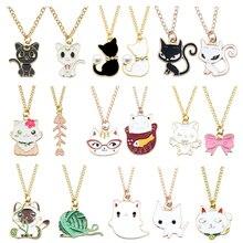 Fashion Sweet Kawaii Cat Flower Yarn Ball Bow Fish Ornament Pendant EnameL Animal Metal Gold Chain Necklace Women Gift