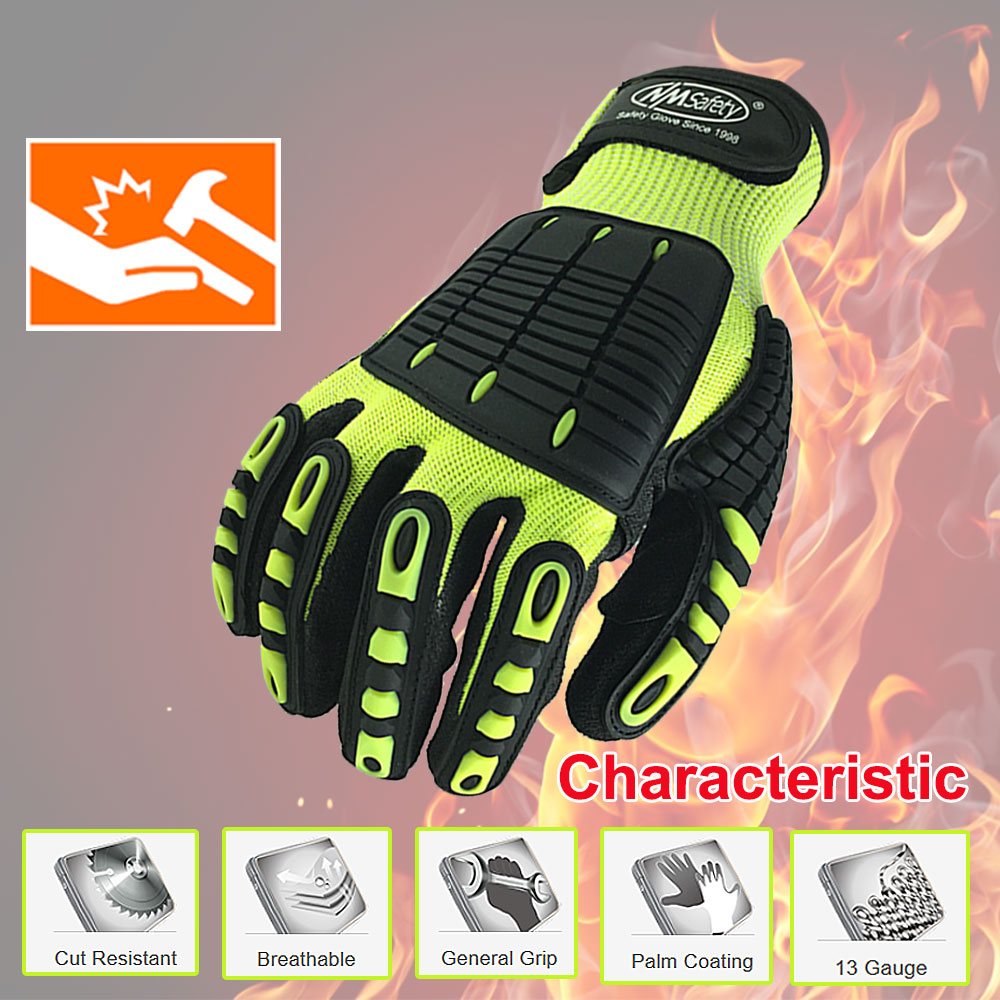 NMSafety High Quality Shock Absorbing Mechanics Impact And Cut Resistant Anti Vibration Safety Work Glove
