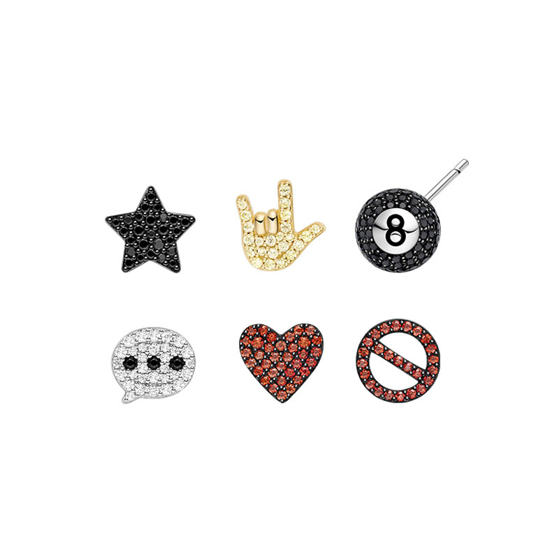 SLJELY 6pcs/set 925 Sterling Silver CZ Mini Star Black Eight Ball Love Heart Stop Sign Stud Earrings Women Fashion Party Jewelry-in Stud Earrings from Jewelry & Accessories    1