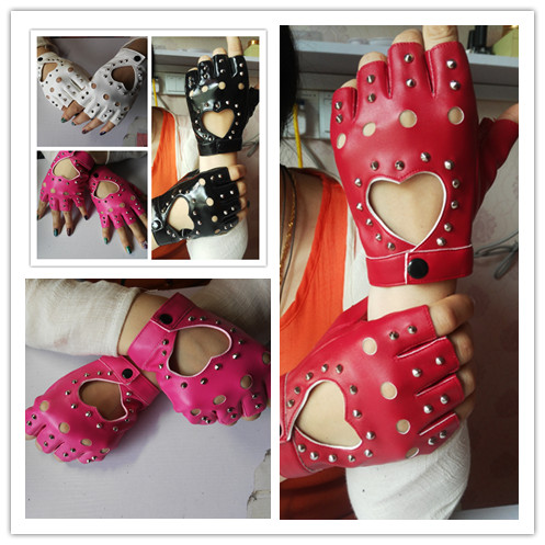 Women's fashion gloves girls semi-finger gloves dance jazz punk personality rivets gloves cutout fingerless gloves 6 colors