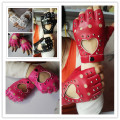 Women's fashion gloves girls semi-finger gloves dance jazz punk personality rivets gloves cutout fingerless gloves 6 colors