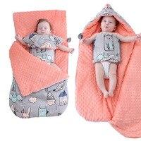 Newborn Baby Warm Blankets Envelope Baby Stroller Swaddling Wrap Infant Kids Sleeping Bag Cotton Thicken Bedding Quilt Blanket